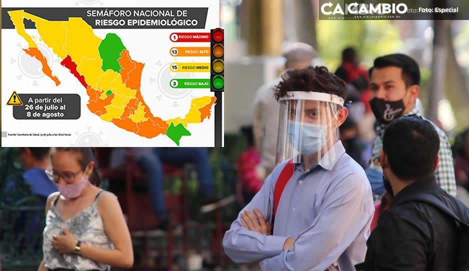 Nuevo Semáforo Covid pone a Puebla en amarillo y Sinaloa en rojo