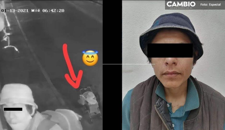 Captan a ladrón de cámaras en Atlixco; anda con carreola para fingir que tiene un bebé
