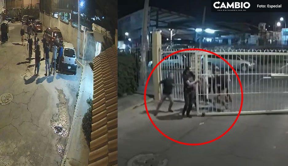 Exhiben en VIDEO a los asaltantes que golpearon a los dueños de la taquería El Burro Norteño en Momoxpan