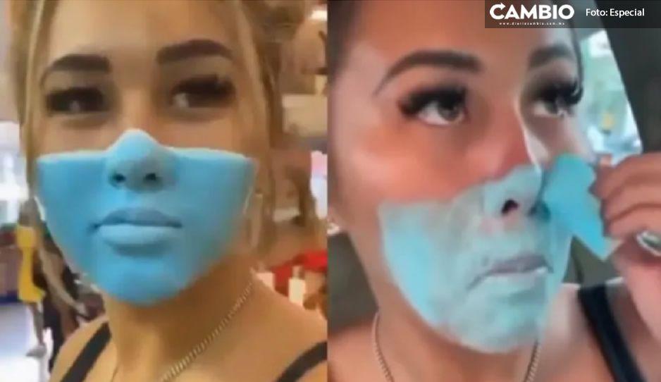 ¡Por chistosita! Influencer se pinta cubrebocas; ahora enfrenta deportación (VIDEO)
