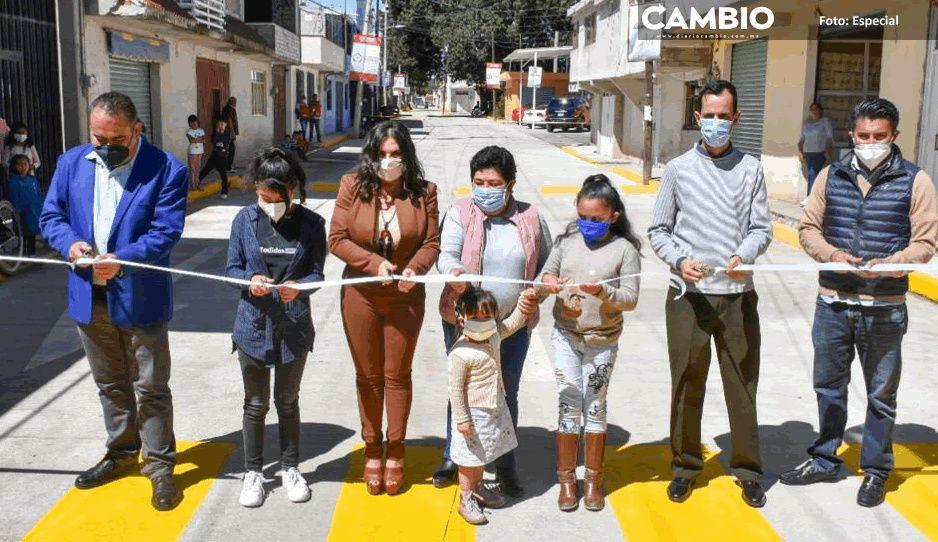 Inaugura Norma Layón pavimentación con concreto hidráulico en Tlanalapan y cabecera municipal