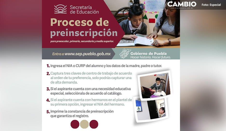 SEP anuncia el proceso de preinscripción para nivel básico y medio superior