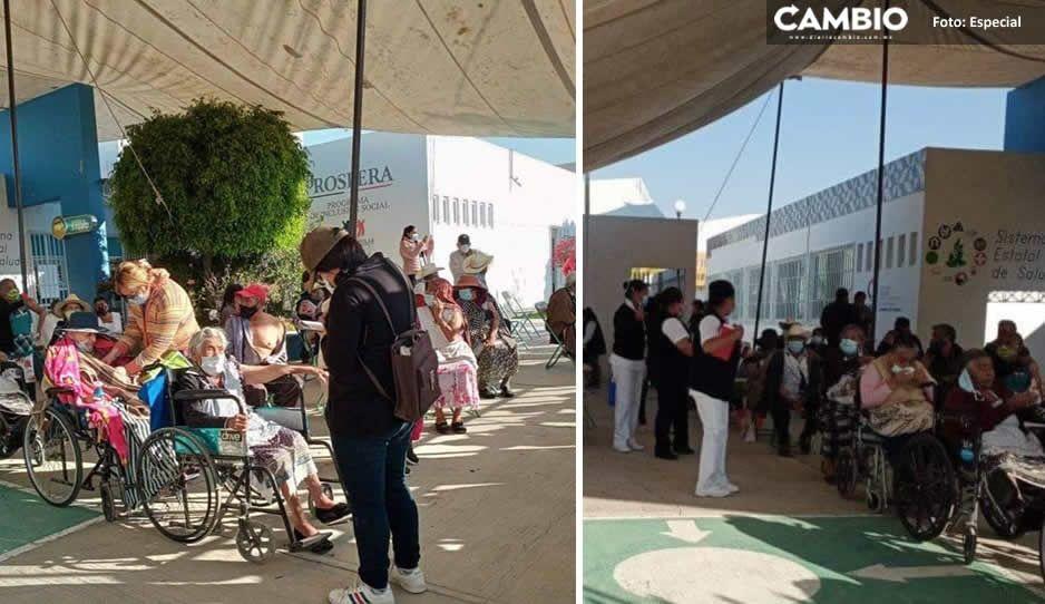 Al fin vacunan a abuelitos vs COVID en Huixcolotla, Los Reyes de Juárez, Palmar de Bravo  y Acatzingo