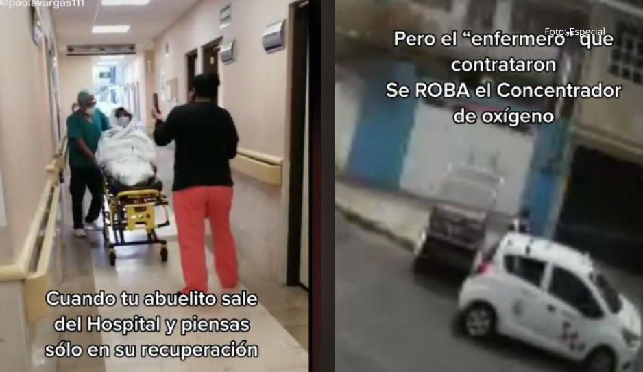 VIDEO: Enfermero desalmado roba oxígeno a abuelito con COVID