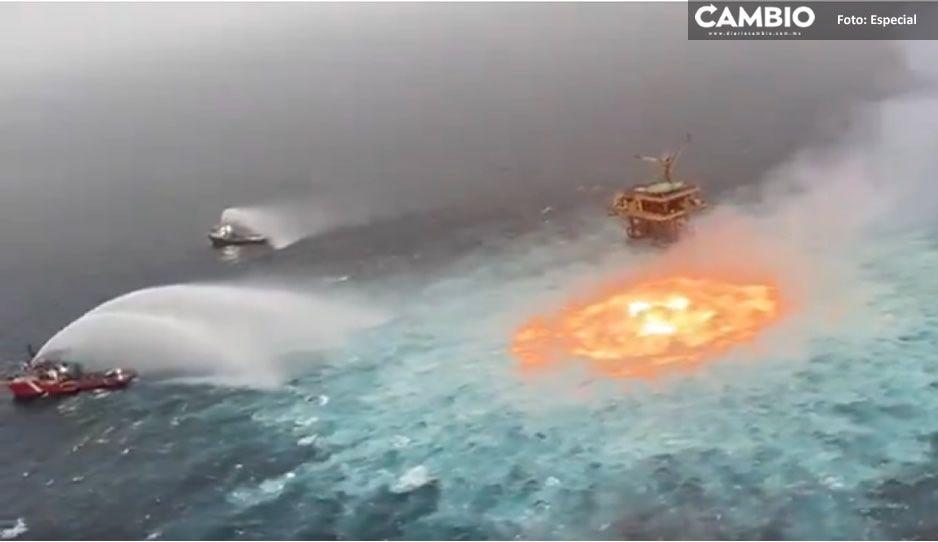 ¡Terrible! Captan explosión en línea submarina de Pemex en Campeche (VIDEO)