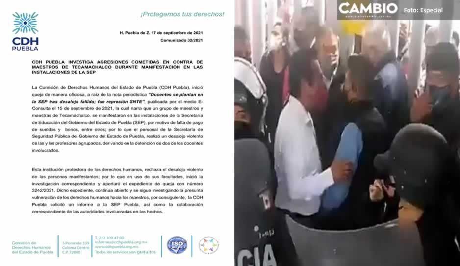 Investiga CDH agresiones contra maestros de Tecamachalco en la SEP