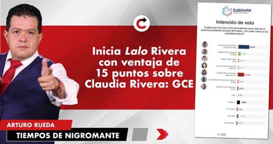 Inicia Lalo Rivera con ventaja de 15 puntos sobre Claudia Rivera: GCE