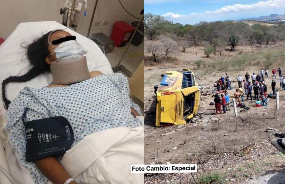 Con el pulmón dañado y las costillas rotas, Irma se debate entre la vida y la muerte tras volcadura de autobús Oro