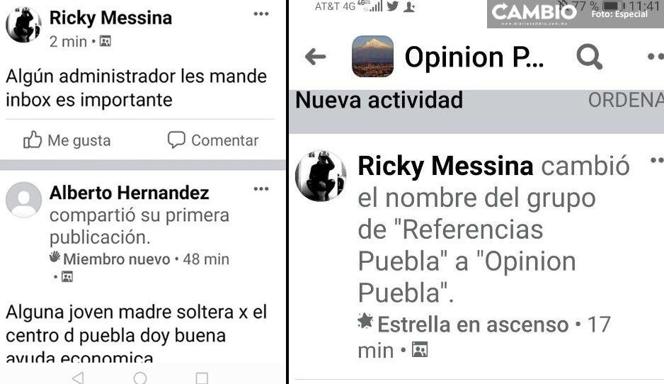 Padrotes digitales cambian de nombre su grupo en FB, de Referencias Puebla a Opinión Puebla