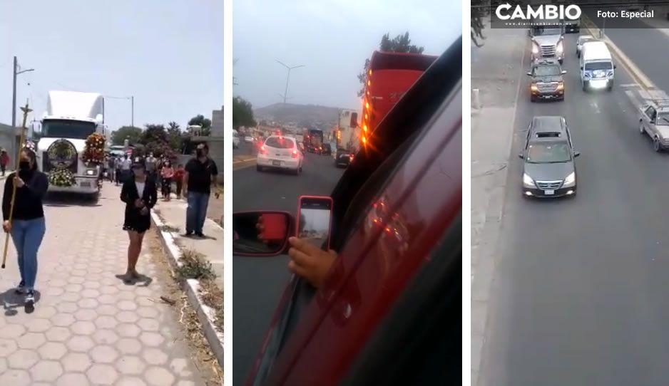 ¡Adiós camarada! Al ritmo de banda, despiden a trailero muerto en trágico accidente de Sinaloa (VIDEO)