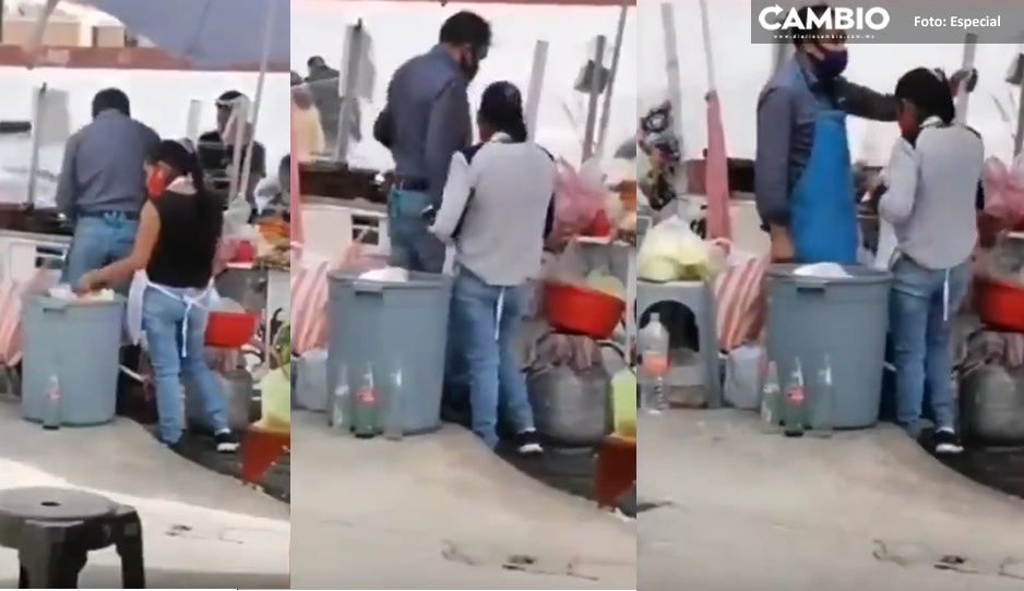 VIDEO: ¡Guácala! Captan a 'doña Pelos' sacando desechables de la basura para reutilizarlos