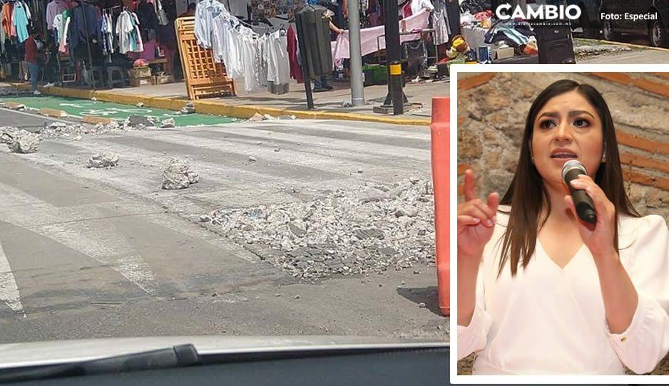 No resistió las lluvias la emblemática rehabilitación de Claudia en el Bulevar Xonaca  (FOTOS)