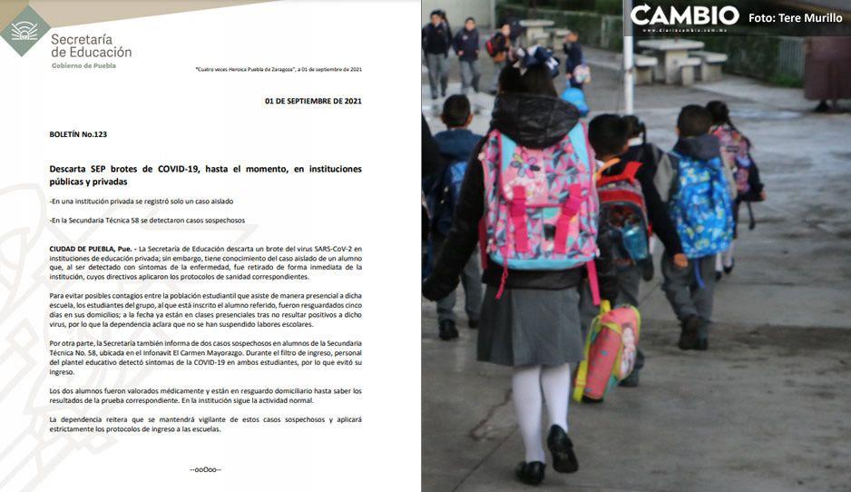 ¡Alerta! SEP detecta dos sospechosos de COVID en Secundaria Técnica 58 y un contagiado en escuela particular