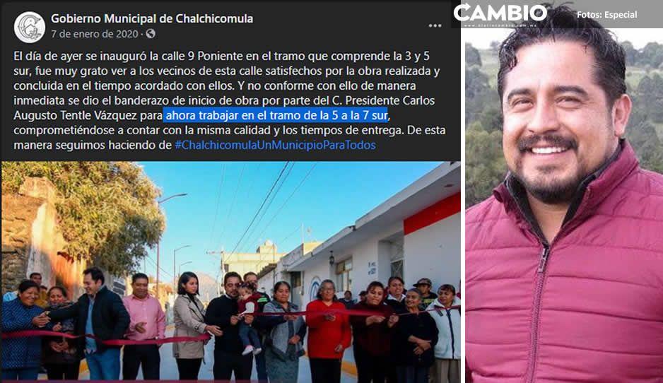 Al estilo Morena: Carlos Tentle pavimentó la calle de su casa como alcalde de Serdán