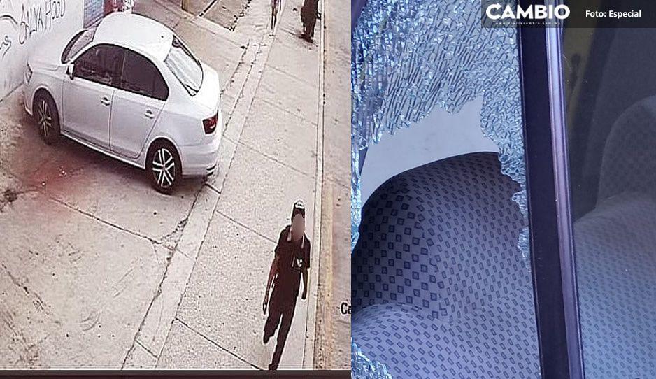 ¡Otro cristalazo! Ahora en Amozoc atracan auto estacionado