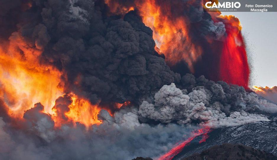 IMÁGENES IMPRESIONANTES:  Así hizo erupción el Volcán Etna