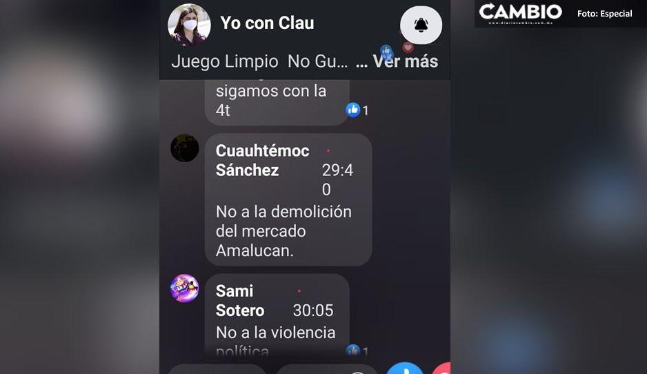 No al Mercado Amalucan, así se manifiestan locatarios en transmisión de #YoConClau