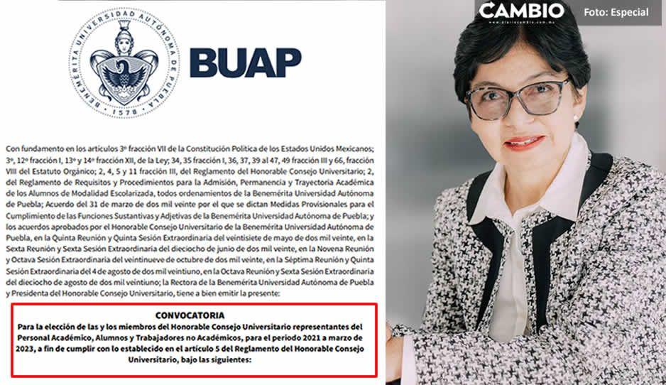 Lilia Cedillo cumple, emite convocatoria para renovar al Consejo Universitario de la BUAP
