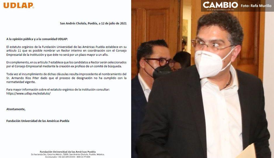 UDLAP declara improcedente el nombramiento de Ríos Piter como rector