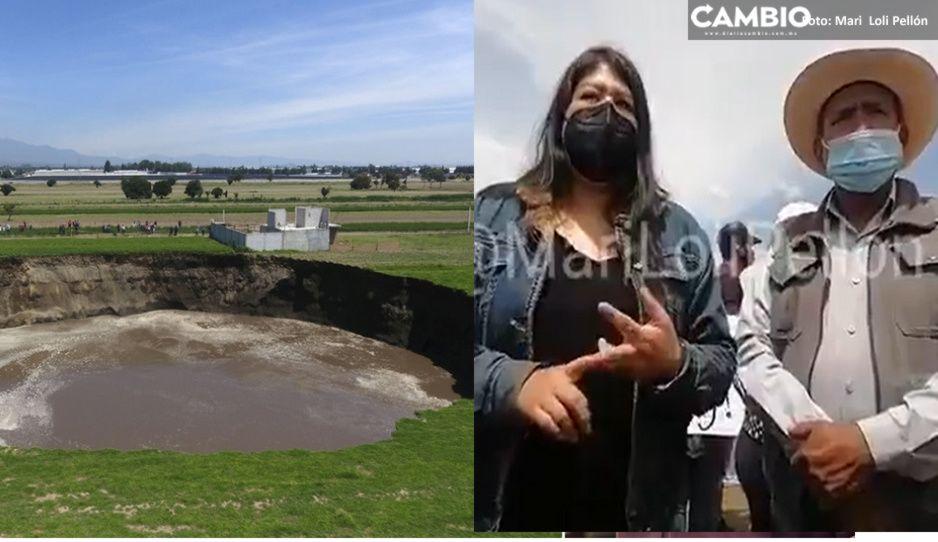Pobladores de Juan C Bonilla denuncian grietas en sus casitas por el socavón, desalojan casas