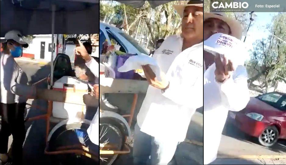 Mujeres le rechazan gorras a candidato de Morena en Querétaro: 'es igual de corrupto' (VIDEO)